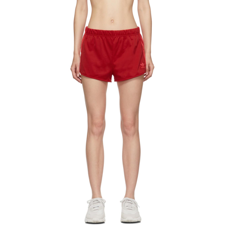 Red 3 Stripe Shorts by Adidas Originals
