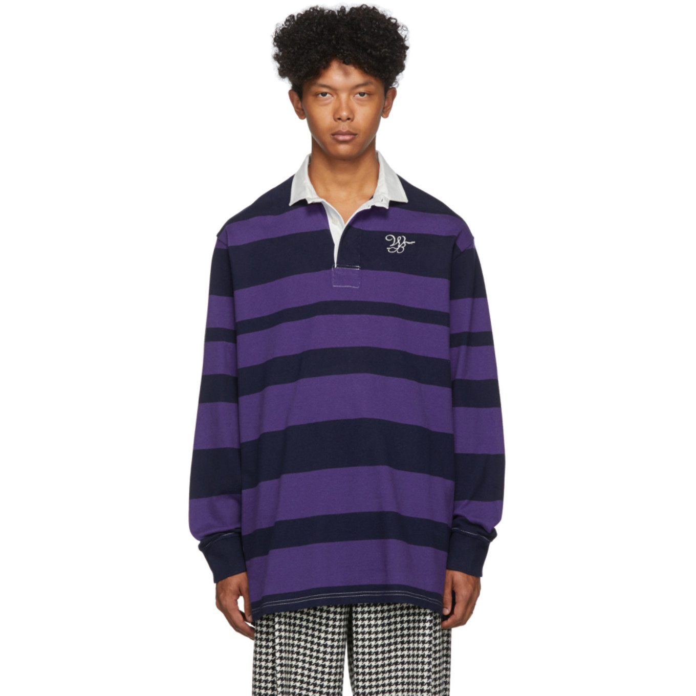 Navy & Purple Striped Rugby Polo by Wales Bonner
