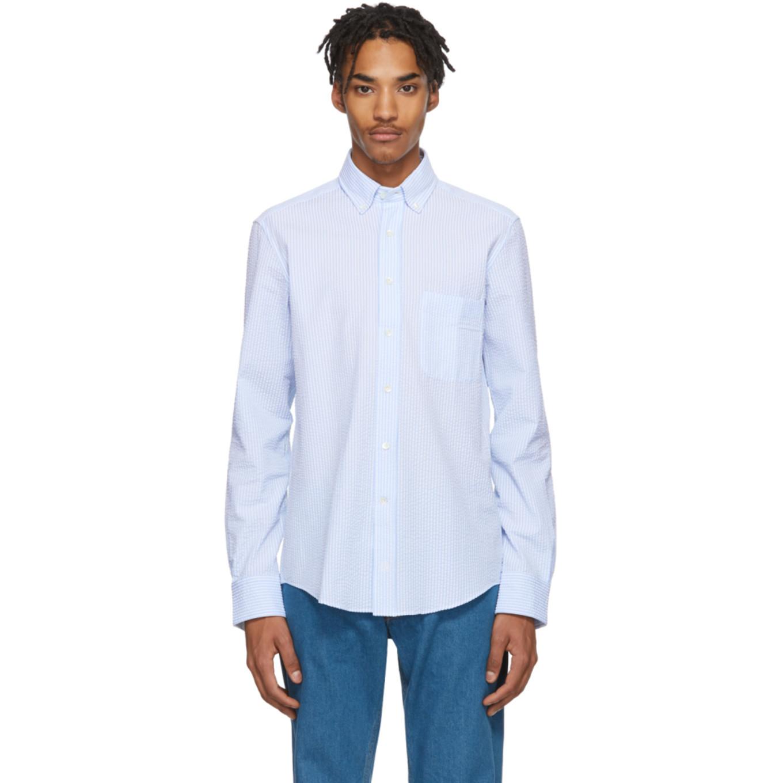 Blue & White Seersucker Shirt by Lanvin