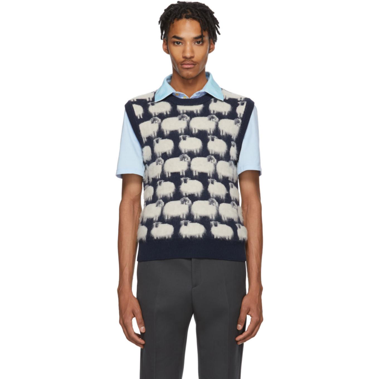 Blue & White Wool Sheep Vest by Lanvin
