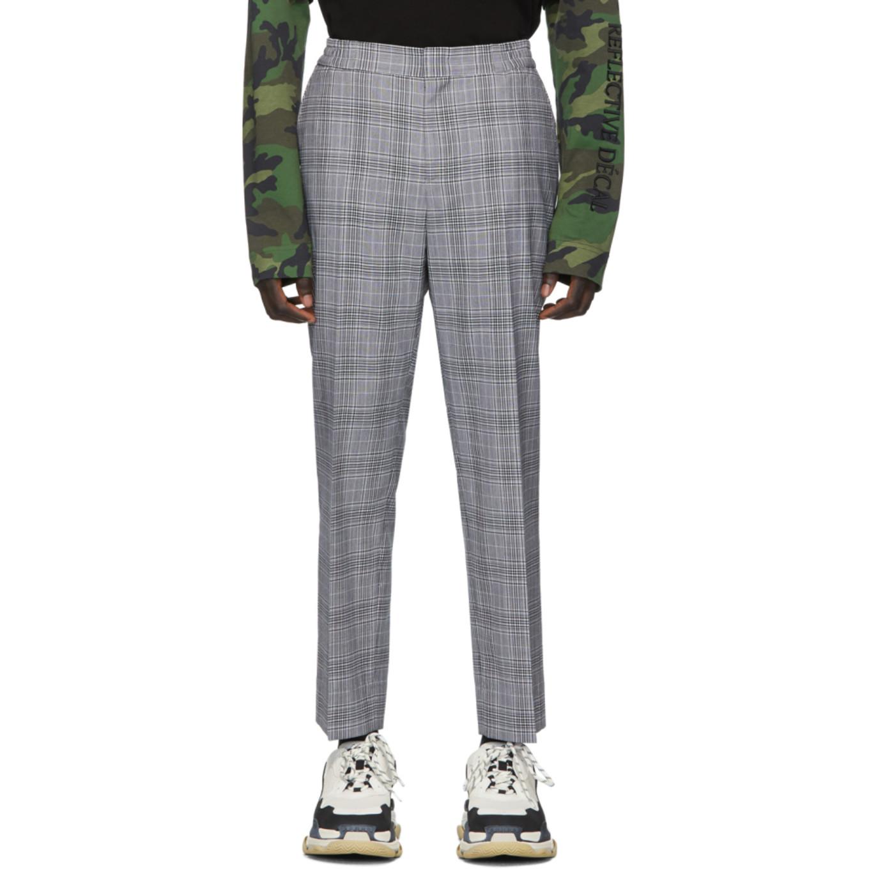 Black Check Wool Trousers by Juun.J
