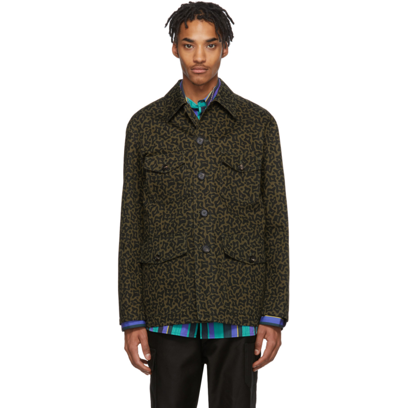 Black & Green Camo Cells Work Jacket by Marni