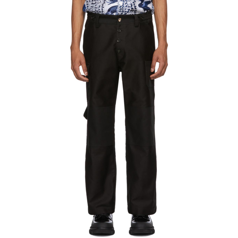 Black Moleskin Cargo Pants by Marni