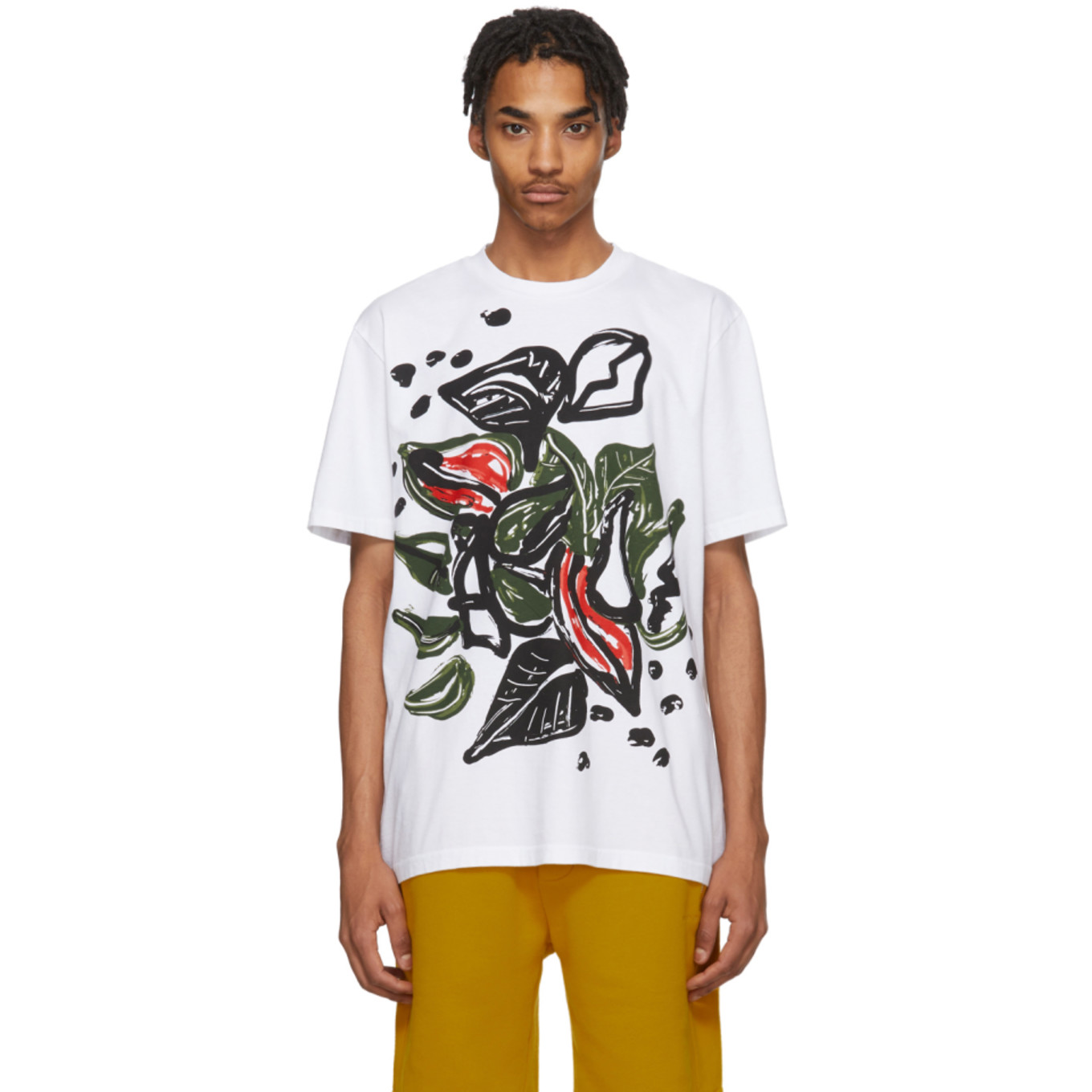 White & Multicolor Graphic T Shirt by Marni