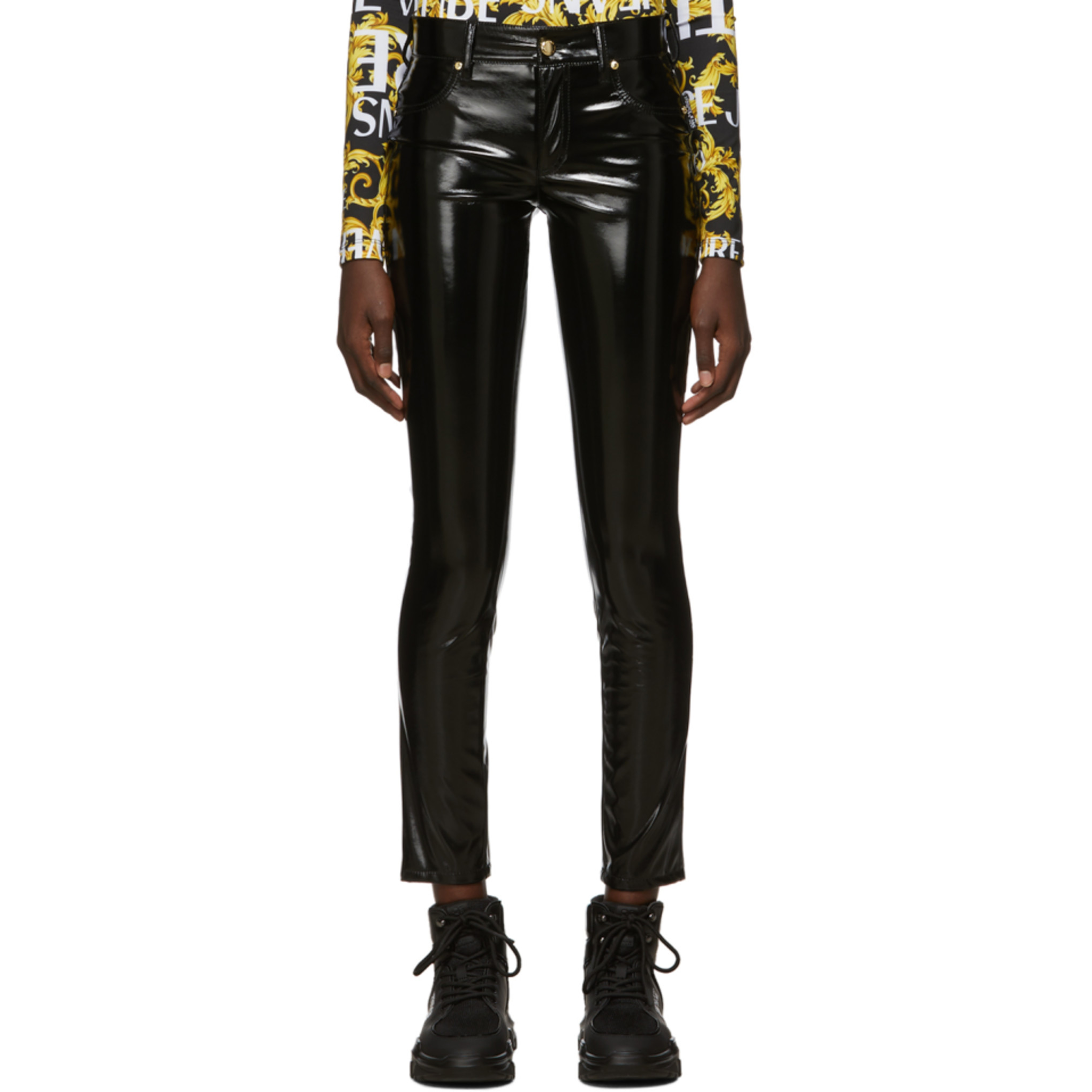 Black Shiny Vinyl Trousers by Versace Jeans Couture