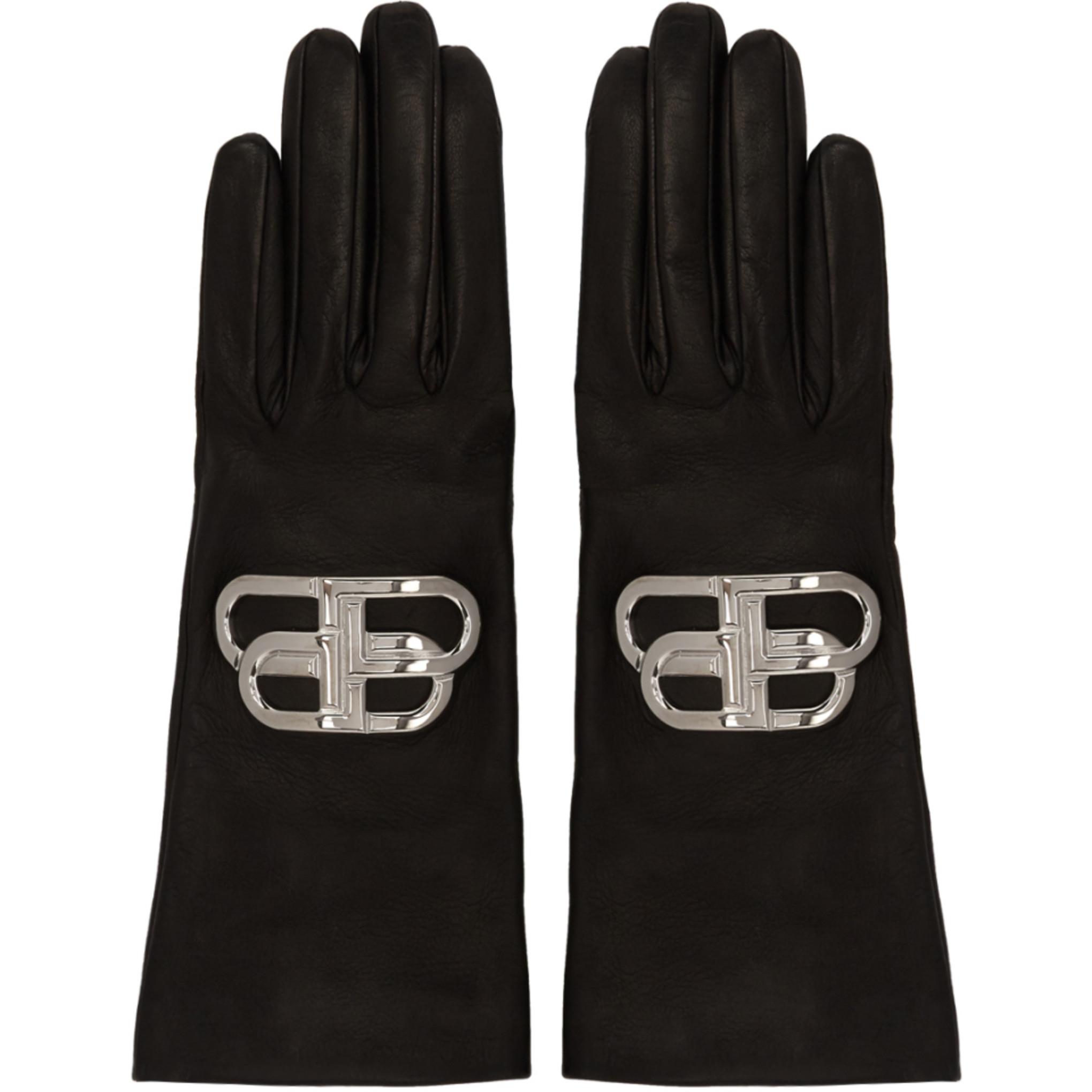 Black & Silver Bb Gloves by Balenciaga