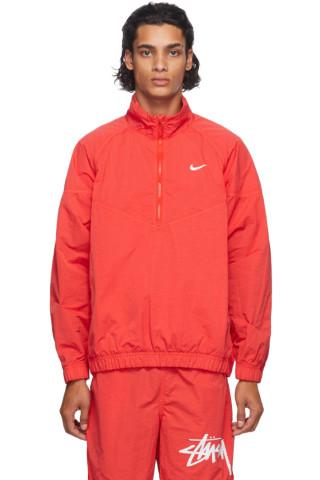 나이키 x 스투시 자켓 Nike Red Stuessy Edition NRG Windrunner Jacket,Habanero red