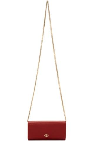 구찌 Gucci Red Small Marmont Chain Wallet Bag
