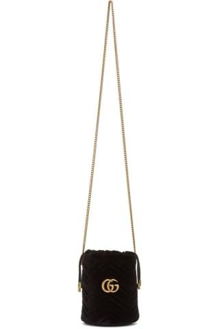 구찌 Gucci Black Mini Velvet GG Marmont Bucket Bag