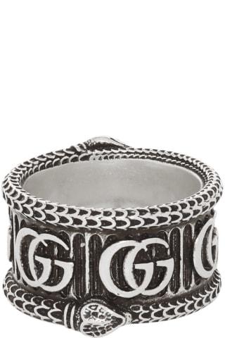 구찌 더블 G 마몬트 링 Gucci Silver GG Marmont Ring,Aged silver