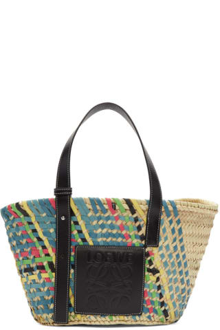 로에베 LOEWE   Multicolor Basket Tote,Blue multitone/Black Supplier textile: Raffia/Calf