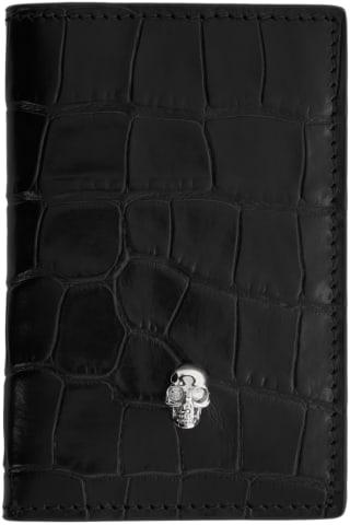 알렉산더 맥퀸 Alexander McQueen Black Croc Pocket Organizer