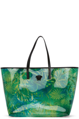 베르사체 Versace Green PVC Jungle Tote