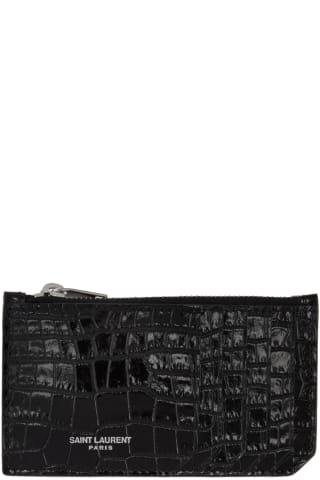 생 로랑 Saint Laurent Black Croc Fragment Zipped Card Holder