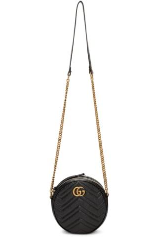 구찌 Gucci Black Mini GG Marmont Round Bag
