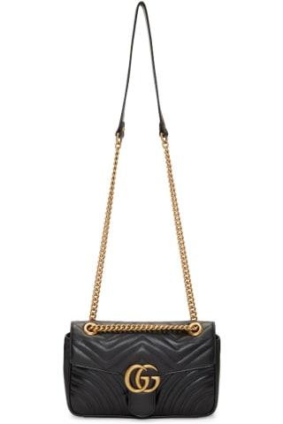 구찌 Gucci Black Small GG Marmont 2.0 Shoulder Bag