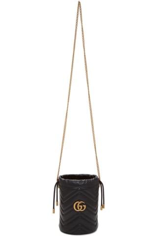 구찌 Gucci Black Mini GG Marmont Bucket Bag