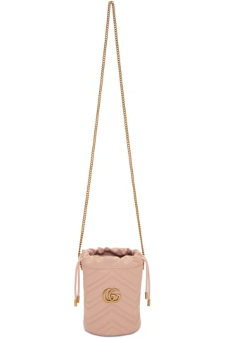 구찌 Gucci Pink Mini GG Marmont 2.0 Bucket Bag