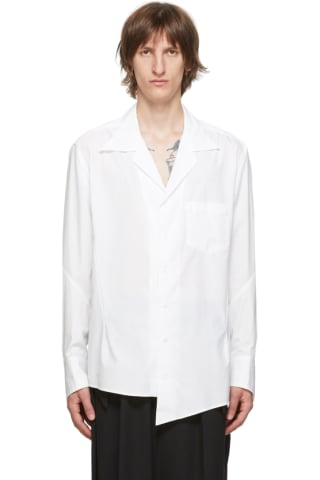 Sulvam White Broad Open Collar Shirt