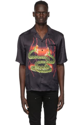 Stolen Girlfriends Club SSENSE Exclusive Black Lightning Hawaiian Short Sleeve Shirt