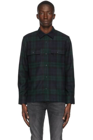 Nudie Jeans Navy & Green Wool Sten Blackwatch Shirt