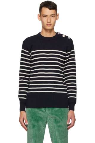 Marc Jacobs Navy Armor-Lux Edition Wool Striped Sweatshirt