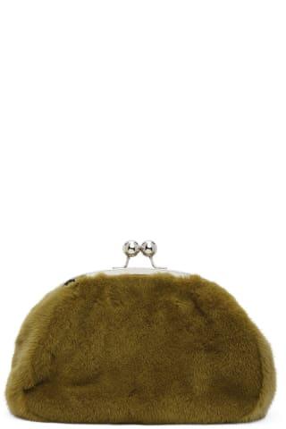 Marina Moscone Green Mink Micro Coin Purse,Moss Body: Mink fur.