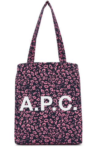 아페쎄 A.P.C. Navy & Pink Leopard Diane Tote