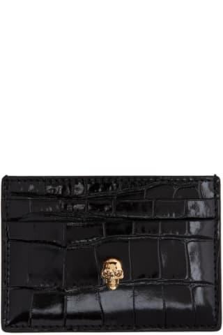 알렉산더 맥퀸 Alexander McQueen Black Croc Skull Card Holder