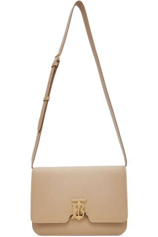 Burberry Beige Medium Grainy Leather TB Bag