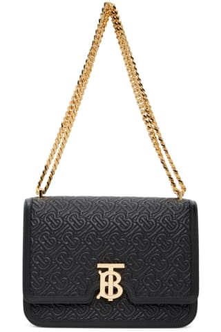 Burberry Black Medium Monogram TB Bag