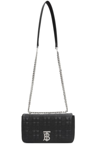 Burberry Black & Silver Grainy Small Lola Bag