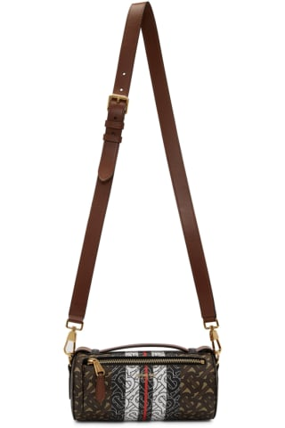 Burberry Brown E-Canvas Barrel Monogram Bag