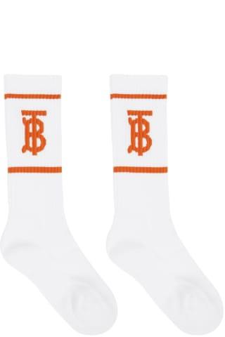 Burberry White & Orange Intarsia Monogram Socks