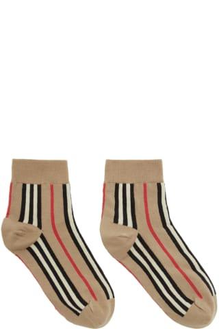 Burberry Beige Vertical Stripe Socks