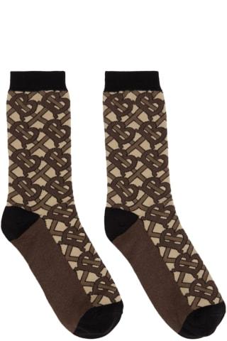 Burberry Brown Intarsia Monogram Socks
