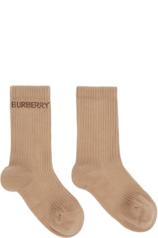 Burberry Beige Logo Sports Socks