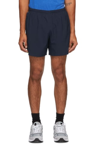 New Balance Navy & Green Impact Run 5-Inch Shorts
