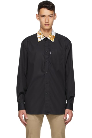 Versace Black Barocco Collar Shirt