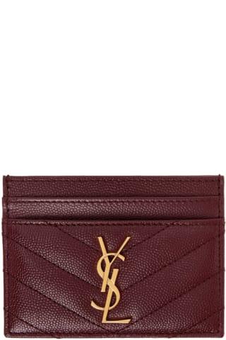 생 로랑 Saint Laurent Burgundy Monogramme Card Holder,Red