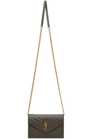 생 로랑 Saint Laurent Grey Monogramme Envelope Bag
