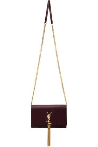 생 로랑 Saint Laurent Burgundy Kate Tassel Chain Wallet Bag,Red