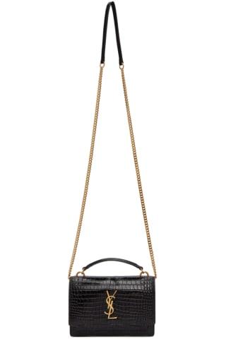생 로랑 Saint Laurent Black Croc Sunset Chain Wallet Bag