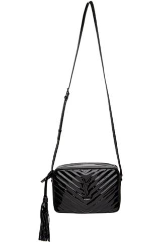 생 로랑 Saint Laurent Black Patent Lou Camera Bag