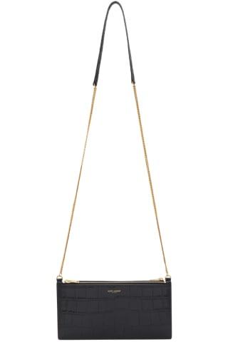 생 로랑 Saint Laurent Black Croc Double Pocket Wallet Bag
