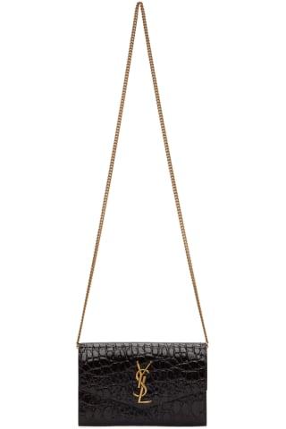 생 로랑 Saint Laurent Brown Croc Uptown Chain Wallet Bag,Fondente