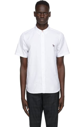 PS by Paul Smith White Poplin Zebra Short Sleeve Shirt