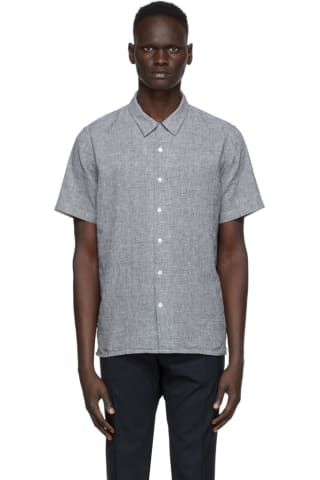 PS by Paul Smith Black & White Houndstooth Camp Short Sleeve Shirt