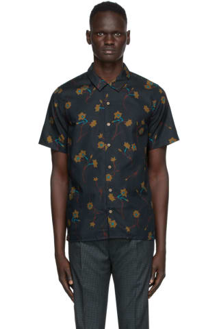 PS by Paul Smith Navy Floral Casual Short Sleeve Shirt