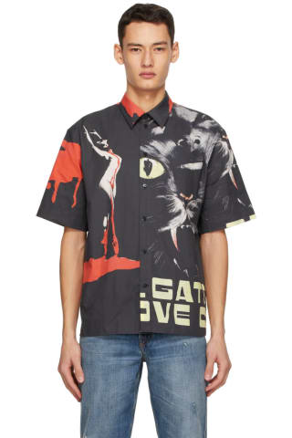 MSGM Black Dario Argento Edition Cat Shirt